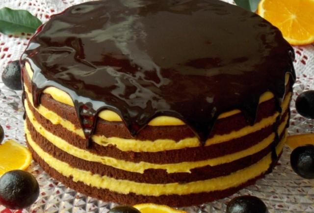 Шоколадно-апельсиновий торт (на білках)